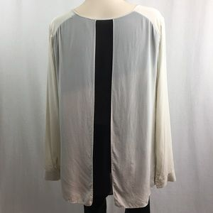Wilfred Silk Long Sleeve Blouse Ivory/Black M